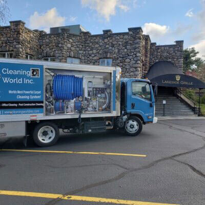 cleaning world truck and client image