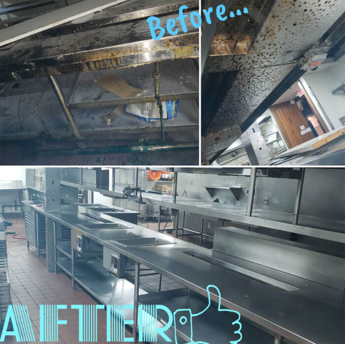 restaurant cleaning before and after image
